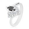 Ezüst színű gyűrű, hajlított szárvégek, fekete búzaszem alakú és átlátszó cirkóniák