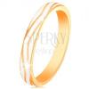 585 arany gyűrű - fehér fénymázas hullámos sáv, sima felszín
