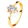 Gyűrű 14K sárga aranyból - átlátszó cirkóniás csepp, kiálló cirkóniák