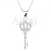 925 ezüst nyakék, nyaklánc és medál - csillogó kulcs koronával
