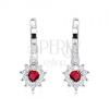 Fülbevaló 925 ezüstből, piros, szív alakú cirkónia, átlátszó kerettel