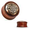 Nyerges plug fülbe mahagóni fából, vésett kör