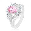 Ezüst színű gyűrű rózsaszín cirkónia, átlátszó ívek