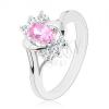 Ezüst színű gyűrű, nagy rózsaszín ovális, sima és cirkóniás ívek