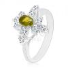 Fénylő gyűrű, ezüst árnyalat, sötétzöld ovális cirkónia, átlátszó cirkónia