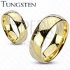Tungsten karikagyűrű, lekerekített arany színű felszín, Gyűrűk ura motívum, 6 mm