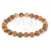 Karkötő - gömbölyű gyöngyök barna jáspisból, átlátszó gumi