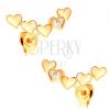 14K sárga arany fülbevaló - kidomborodó szívek ívben összekapcsolva