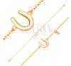 585 sárga arany karkötő - fénylő patkó fehér fénymázzal, átlátszó cirkónia karkötő