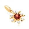 375 arany medál - virág átlátszó kövekkel és piros gránáttal díszítve