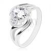 Csillogó gyűrű, osztott hullámos szárak, nagy ovális cirkónia átlátszó színben