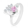 Fényes gyűrű, szabálytalan csepp cirkóniákkal díszítve rózsaszín és átlászó változatban