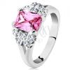 Gyűrű ezüst árnyalatban, rózsaszín cirkóniás téglalap, átlátszó cirkóniák