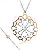 Nyakék 925 ezüstből, virág szív körvonalakból, minta arany színben, cirkónia