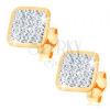 Fülbevaló 14K sárga aranyból - átlátszó Swarovski kristályokkal kirakott négyzet