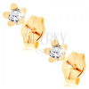 Fülbevaló 14K sárga aranyból - fényes ötszirmú virág, kerek átlátszó cirkónia