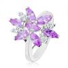 Ezüst színű gyűrű, nagy virág lila és átlátszó szirmokkal
