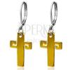 Arany színű acél fülbevaló, kereszt görög kulccsal