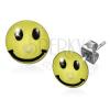 Sebészeti acél fülbevaló, sárga smiley piercinggel