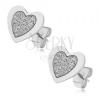 Bedugós fülbevaló acélból, egyenletes szívek, szemcsés felülettel