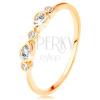 14 arany gyűrű - kör és könnycsepp alakú cirkóniák, fényes szárak