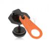 Fekete, hamis plug fülbe, acélból, narancs-fekete zippzár, PVD kezelés
