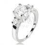 Gyűrű 925 ezüstből, kerek átlátszó cirkónia és két kisebb kő gyűrű