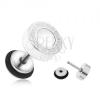 Acél fake plug fülbe, fehér, fénymázas kör, görög kulcs, 8 mm