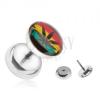 Acél, hamis plug fülbe, Jamaika színei, marihuánna
