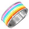 Acél gyűrű színes gumi sávokkal