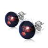 Bedugós fülbevaló acélból - ajkak cseresznyével, fekete alap