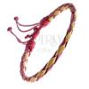 Fonott karkötő bőrből - sárga-piros színű fonat, zsinórok