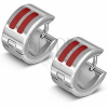 Fényes karika fülbevaló acélból két piros sávval
