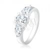Gyűrű 925 ezüstből, átlátszó, kerek, kő, cirkóniás könnycsepp