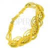 Fonott karkötő sárga fonalakból, hullámminta