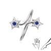 Gyűrű 925 ezüstből - szárak csillagokkal, kék cirkóniák