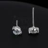 925 ezüst fülbevaló - ragyogó cirkónia, szívecskés pálcikák, 4 mm