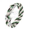 Fonott karkötő fekete, zöld és két fehér zsinórból, fényes vasmacska