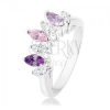 Ezüst színű gyűrű, szem cirkóniák lila, rózsaszín és átlátszó színben