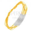 Sárga zsinóros karkötő, hengerek átlós bevágással