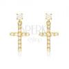 Fülbevaló 14K sárga aranyból - kis cirkóniás latin kereszt