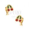 Arany beszúrós fülbevaló - fénymázas piros-zöld cseresznye