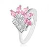 Gyűrű ezüst színben, átlátszó cirkóniák, szem rózsaszín árnyalatban