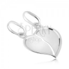 14K Fehérarany kettős medál - megtört fényes szív behajlított széllel