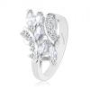 Csillogó gyűrű ezüst színben, kerek és szem alakú cirkóniák átlátszó színben