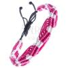 Színes kötött karkötő - rózsaszín-fehér hullámok madzagokból
