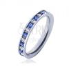 Acél gyűrű - világos kék és átlátszó kövek