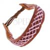 Bőr karkötő - barna, fonott mintával