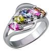 Fémgyűrű, szétágazó, színes cirkóniák sorba rendezve