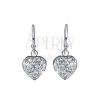 Fülbevaló 925 ezüstből - függő ragyogó szívek, tiszta cirkóniák